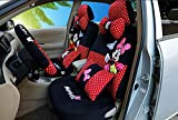 2018new 1 Set Cute Cartoon Universal Luxury car seat Cover Super Soft Short Plush Breathable Cartoon car Seats Covers Accessories Car Steering Wheel Cover Seat (red dot 802)