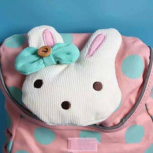 Häschen gepunktete Rucksack Backpack Schultasche Tasche Kinder Mädchen Kindergarten Vorschule Pink SyVVCvBNt5