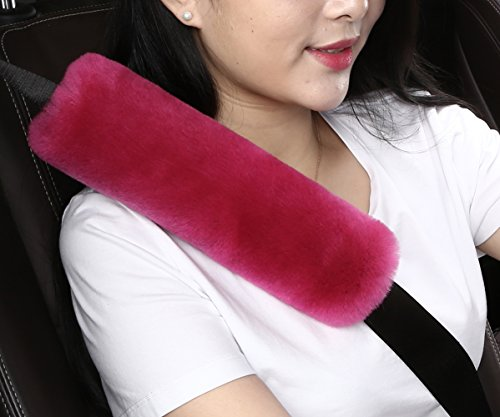 Pure Wool Natura Baby (Dotesy Auto Genuine Sheepskin Seat Belt Cover,Universal Fuzzy Pure Wool Car Seatbelt Cover Shoulder Pads for Adults Kids Children,Safety Belt Strap Chest Protector Neck Cushion,Rose Red)