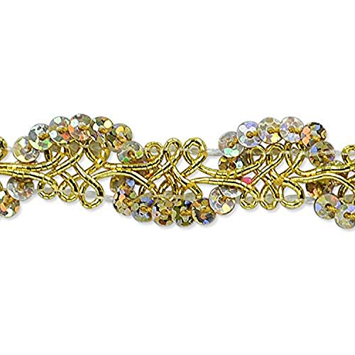 Expo International Lila Sequin Loop Braid Trim Embellishment, 20-Yard, Gold