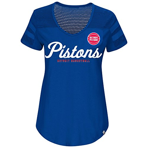 fan products of NBA Women's Landslide Victory Mesh Shoulder V-Neck T-Shirt (Medium, Detroit Pistons)
