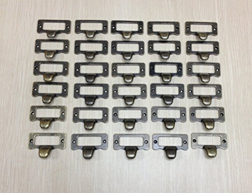 WEICHUAN 30 Pieces 48mm38mm Card Holder Drawer Pull/label holders/Label Frames Card/Label Holder -Vintage Drawer Box Case Cabinet Cupboard Carpenter Repair decoration Hardware with screws