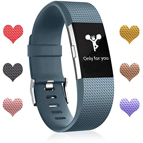 Wepro Bands Compatible with Fitbit Charge 2 HR for Men Women Girls Kids, Small, Slate Blue