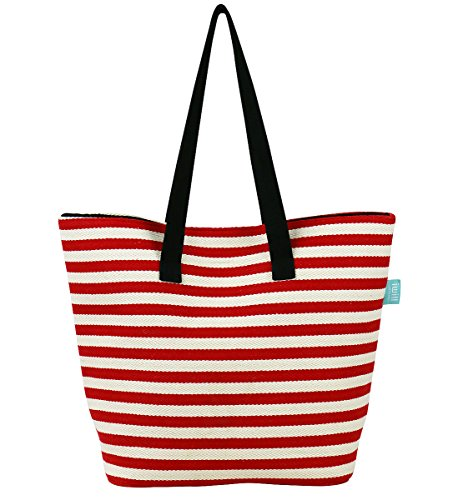 Travel Holiday Shop (Durable Canvas Shoulder Handbag for Travel, Beach Holidays, Classic Beach Bag with Zippered Pocket Inside and Leather Bottom, Red)