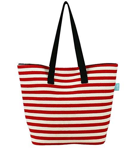 Sac à provisions classique pour les femmes, poche à glissière, bas de sac en cuir résistant, sac fourre-tout d'épaule pour les vacances, sac de plage pour voyage Rouge,xl