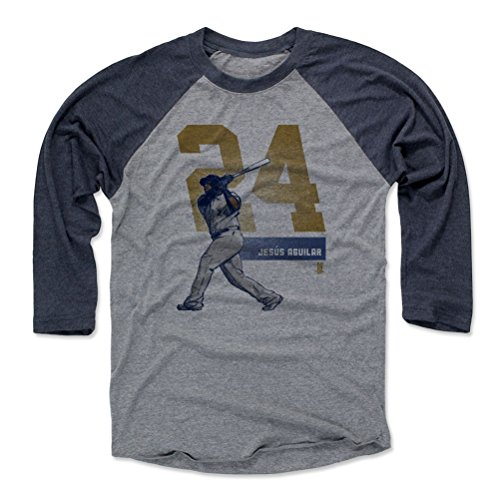 500 LEVEL Jesus Aguilar Baseball Tee Shirt Large Navy/Heather Gray - Milwaukee Baseball Raglan Shirt - Jesus Aguilar Grunge D