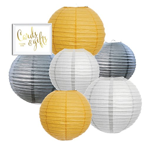Andaz Press Hanging Paper Lantern Party Decor Trio Kit with Free Party Sign, White, Yellow, Gray, 6-Pack, For Bumblebee Bee Elephant Baby Shower Decorations - Gray Party Decorations