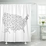 Emvency Shower Curtain Network Map of United States America from Polygonal Black Lines and Dots Mesh Waterproof Polyester Fabric 72 x 72 inches Set with Hooks