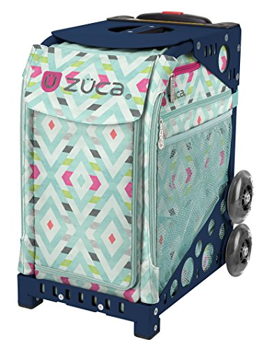 Zuca Chevron Sport Insert Bag and Navy Blue Frame with Flashing Wheels by ZUCA