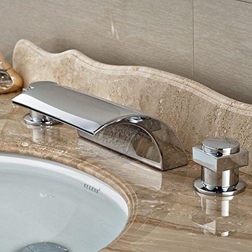 Burgundy U-Enjoy New Dual Handle Top Quality Waterfall Bathtub Mixer Faucet Set Deck Mount Bathroom Tub Sink Faucet Chrome Finish (Light Grey)