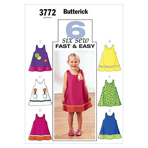 Price comparison product image Butterick Patterns B3772 Toddler's & Children's Dress, Size 4-5-6