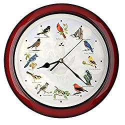 Lovely Collection 14-inch Plays 12 Popular North American Bird's Songs Wall Clock Mantel Clock Home Deco Multicolor (Mahogany)