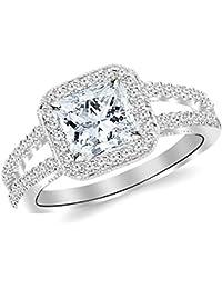 1.28 CTW Designer Split Shank Halo Style With Milgrain Diamond Engagement Ring w/ 0.81 Ct GIA Certified Princess Cut E Color VVS2 Clarity Center