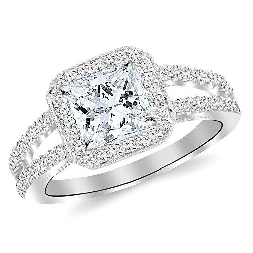 1.22 Ctw 14K White Gold GIA Certified Princess Cut Designer Split Shank Halo Style With Milgrain Diamond Engagement Ring, 0.75 Ct D-E VVS1-VVS2 -