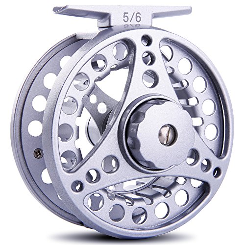 Sougayilang Fly Fishing Reel with Large Arbor 2+1 BB CNC Machined Aluminum Alloy Body Spool Great for Freshwater Bass Fly Fishing (Silver, 5/6 Wt)