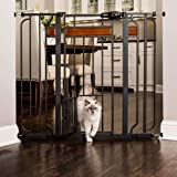 Carlson Pet Products Design Paw 37 Inch Extra Tall Metal Pet Gate, Graphite