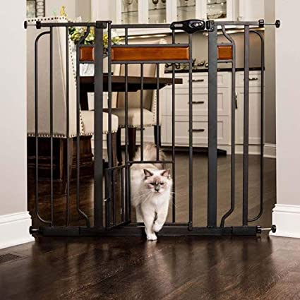 Carlson Pet Products Home Design Extra Tall Gate With Small Pet Door, Black