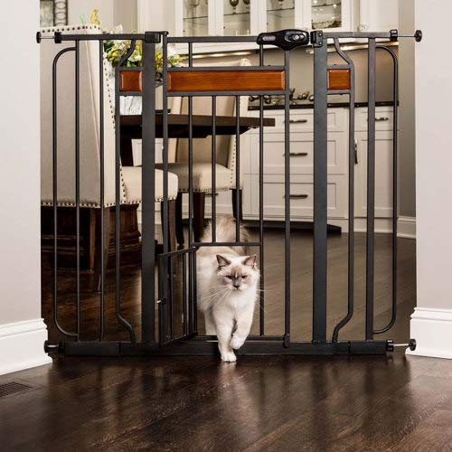 Carlson Pet Products Design Paw 37 Inch Extra Tall Metal Pet Gate, Graphite (Carlson Extra Wide Gate With Small Pet Door)