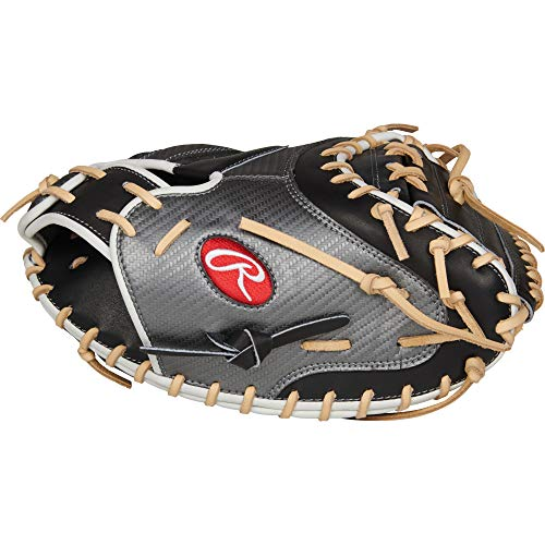 Rawlings Heart of The Hide Hyper Shell Catcher's Baseball Glove/Camel, Black/Silver/Camel, 34 inch, 1-Piece Solid Web, Right Hand Throw