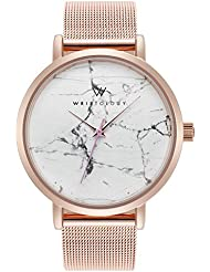 WRISTOLOGY Olivia Womens Real Marble Rose Gold Boyfriend Watch Metal Mesh Band