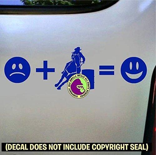 SAD BARREL RACING = HAPPY Vinyl Decal Sticker E