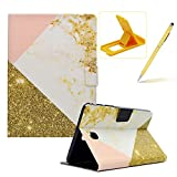 Wallet Folio Case for Samsung Galaxy Tab A 8.0 T350,Bookstyle Flip Pu Leather Case for Samsung Galaxy Tab A 8.0 T350,Herzzer Stylish Classic [White Gold Marble Print] Stand Magnetic Smart Leather Case with Soft Inner for Samsung Galaxy Tab A 8.0 T350