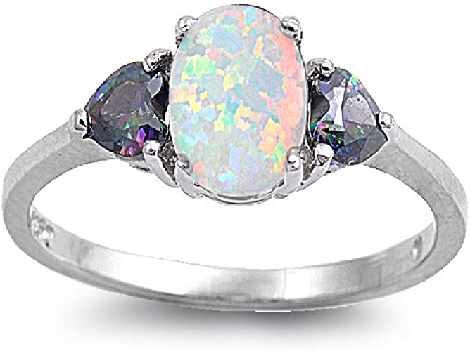 CloseoutWarehouse Double Infinity Cubic Zirconia Simulated Opal 925 Sterling Silver