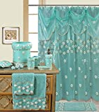 BH Home & Linen Decorative Sheer Scarf Shower curtain with embroidery floral designs 70'' x 72 Inch Made of 100% polyester. (Maya Aqua)