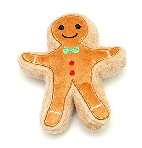 Midlee Christmas Sugar Cookie Plush Dog Toy (Gingerbread Man, Small)]()