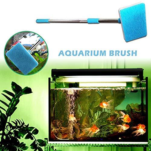 (Wind-Susu Aquarium Algae Scrubber Sponge Cleaning Brush, Square Brush with Retractable Long Handle for Cleaning Glass)