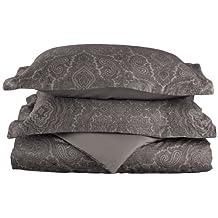 Cotton Rich 600 Thread Count Full/Queen Duvet Cover Set Italian Paisley, Dark Grey