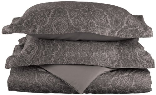 Cotton Blend 600 Thread Count, Soft, Wrinkle Resistant 3-Piece King/California King Duvet Cover Set, Paisley, Dark Grey