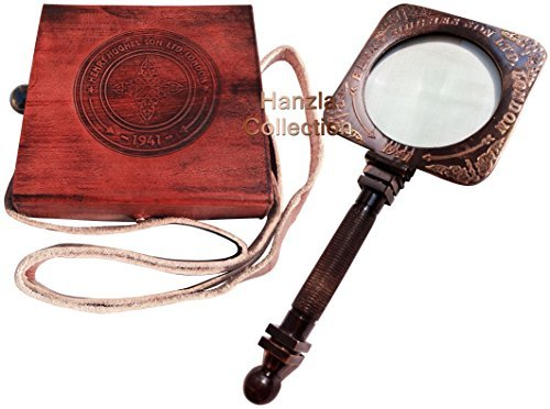 Nautical Brass Square Magnifying Glass~Antique Desk Magnifier with Leather Case