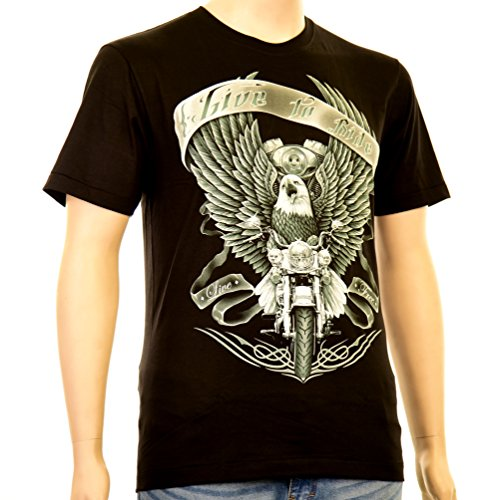 Live to Ride free - Rock Eagle T-Shirt Bikerdesign Freiheit Motorrad Adler