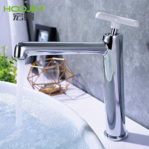 ZJN-JN 蛇口 バスルームのシンクは、スロット付き浴室の洗面台のシンクホットコールドタップファイン銅クロムシングルハンドルダブルコントロール流域の蛇口の浴室の節水が炭素磁器流域の蛇口を鉛電気めっきタップ 台付