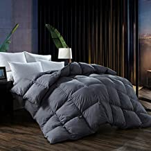 L LOVSOUL Queen Comforter,Goose Down Comforter All Season Duvet Insert with Corner Tabs,1200 Thread Count 700 Fill Power Down Comforter,Grey(90x90inches)