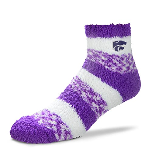 For Bare Feet NCAA RMC Pro Stripe Fuzzy Sleep Soft Sock -Kansas State Wildcats-Size-Medium