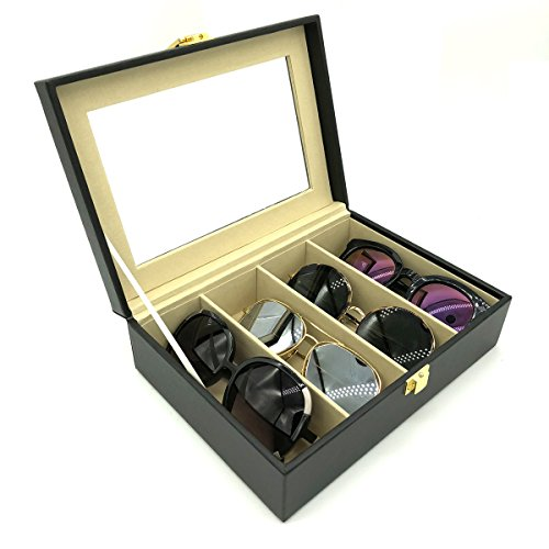 UnionPlus Travel 4-Slot Eyeglass Sunglass Glasses Organizer Collector - Faux Leather Storage Case Box (Black - 4 Slots) ()