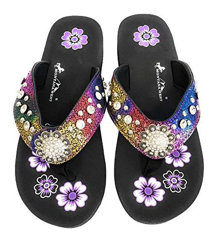 Montana West Flip Flops Sandal Crackle Texture Crystals Floral Concho Rainbow 8 ()