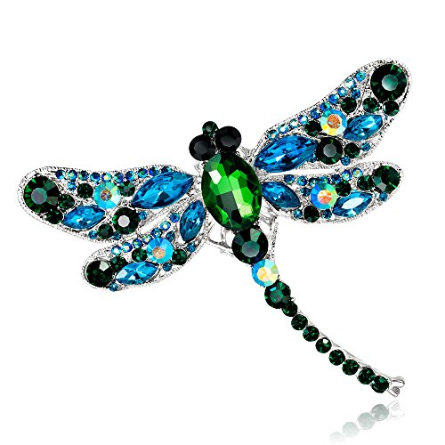 AOCHEE Multi-Colors Wing Dragonfly Brooch Pin Austrian Crystal Rhinestone Dragonfly Necklace Jewelry (Green) ()