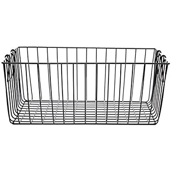 The Lucky Clover Trading Black Rectangular Wire Basket with Swing Handle - Large