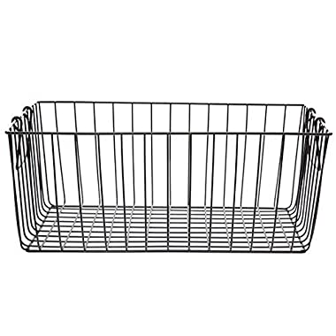The Lucky Clover Trading Rectangular Wire Swing Handle-Large Basket, Black
