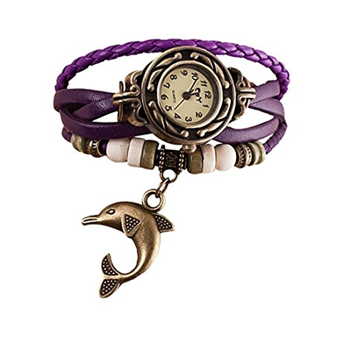 - Elevin(TM) Woman Quartz Weave Around Leather Dolphin Bracelet Lady Wrist Watch (Purple)
