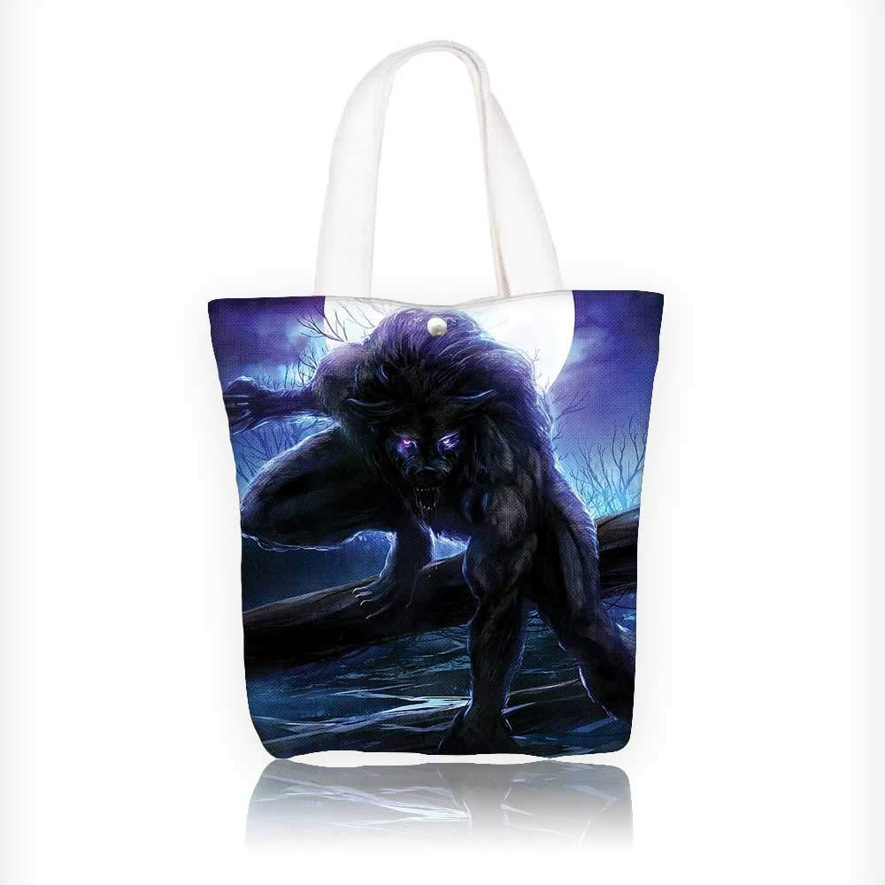 fdd7b2c0ea63 Amazon.com: Women's Canvas Tote Bag, Surreal Werewolf with Electric ...