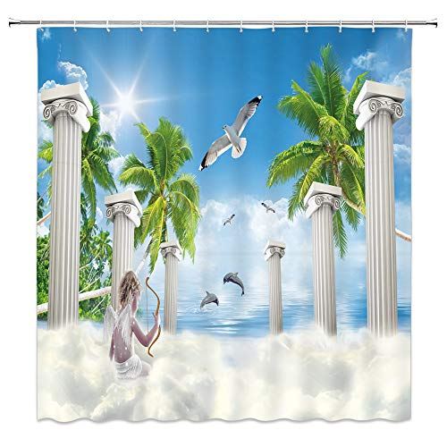 Fantasy Ocean Shower Curtain Fairy Tale Seascape Decor Child with Angel Wings on Floating Clouds Stone Pillar Seagull Palm Tree Sunny Sky Waterproof Green White Blue Fabric Hooks Included 70x70 Inch
