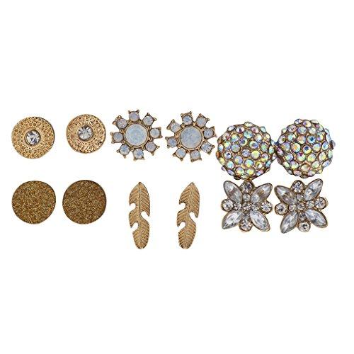 Lux Accessories 6PC Cute Flower Floral Goldtone Opal Earrings Multi Earrings (Earring Necklaces Crystal Filled Rhinestone)