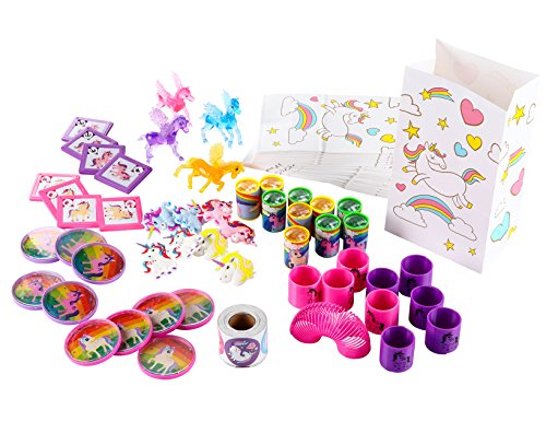 Unicorn Party Favors - 306-Pack Unicorn Toy Assortment Prize Box for Kids Birthday, Classroom Rewards, Includes Stickers, Spring, Treat Bags and More for Boys, Girls, Toddlers -