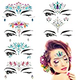 BBTO 6 Pieces Face Jewels Tattoos Women Mermaid Face Rhinestone Glitter Stickers Temporary Stickers for Eyes Face Body Forehead Decor Halloween Festival Jewels