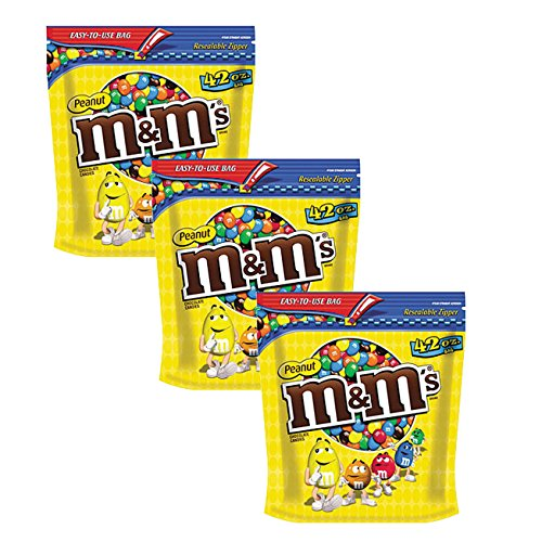 M&M's Peanut Milk Chocolate Candy Party Size Bag, 42 Ounce