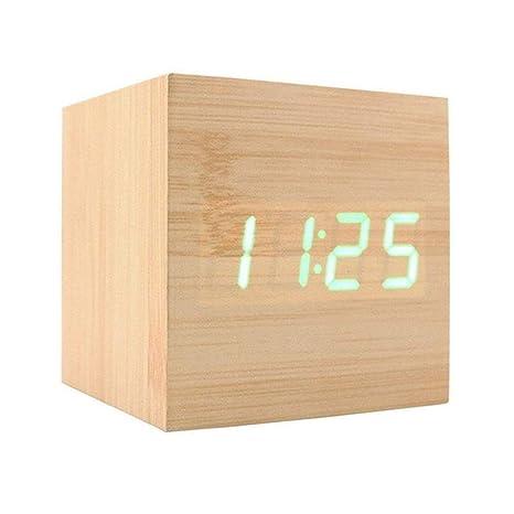 Reloj Despertador Digital XAGOO Despertador LED Cubo , Despertador de Madera con Activación por Sonido,